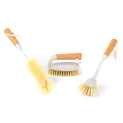 Beldray Bamboo 34cm Bottle Brush, Beldray Bamboo 28cm Dish Brush and Beldray Bamboo 14cm Scrubbing Brush