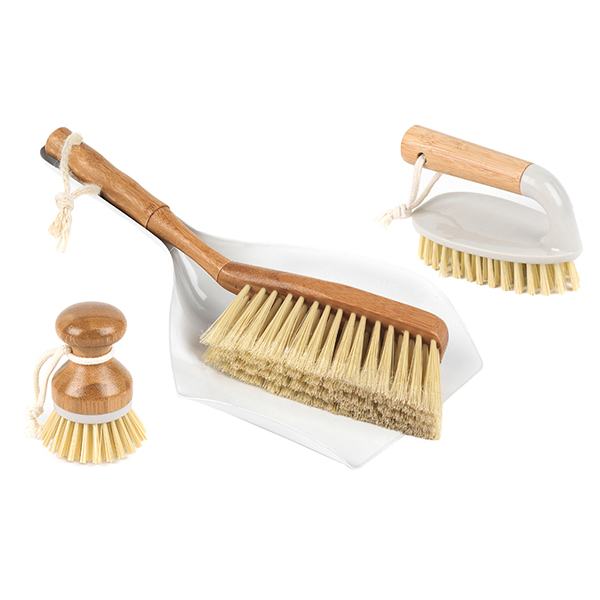 Beldray Bamboo 14cm Scrubbing Brush, Bamboo 10cm Kitchen Dish Cleaning Brush and Bamboo Dustpan And Brush Set No Colour