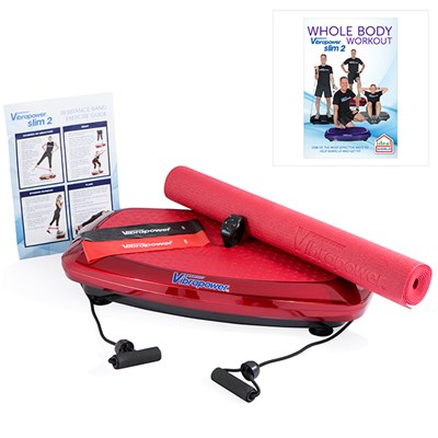 Vibrapower Slim 2 Plus with 2 Resistance Bands, Equipment Mat, Remote Control Watch and Wall Chart with Vibrapower Slim 2 Plus DVD