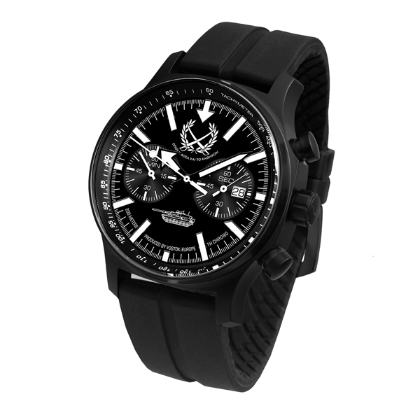 Vostok Europe Gent's Limited Edition Chronograph Tank Watch with Silicone Strap Black