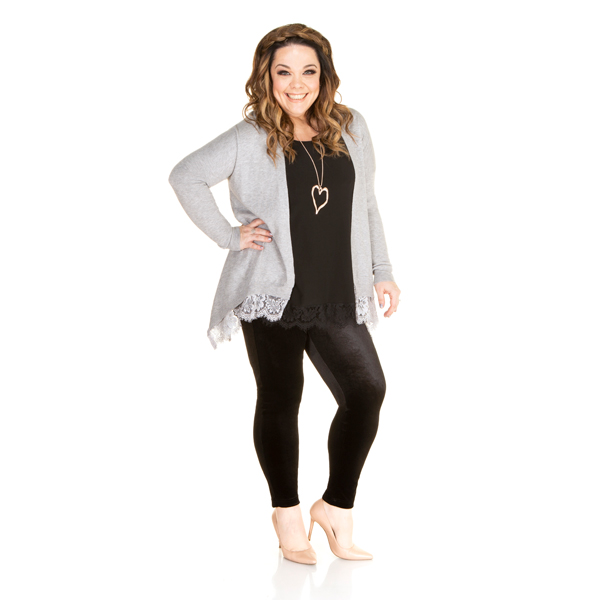 10% off Just Be You Fine Knit Cardigan with Lace Trim