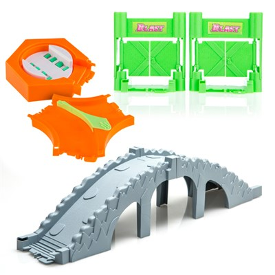 Turbo Trax Extra Fun Kit including Turbo Trax Bridge Accessory Kit, Blast Doors and 360 Turner with Track Split