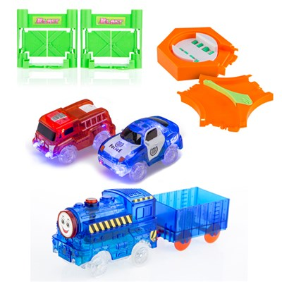 Turbo Trax Police and Fire Engine, Train, Blast Doors and 360 Turner with Track Split