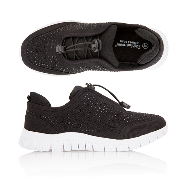 Cushion Walk Diamante Leisure Shoe Black