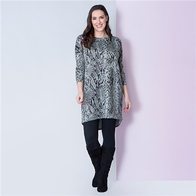Styled By Longline Printed Tunic with Side Splits