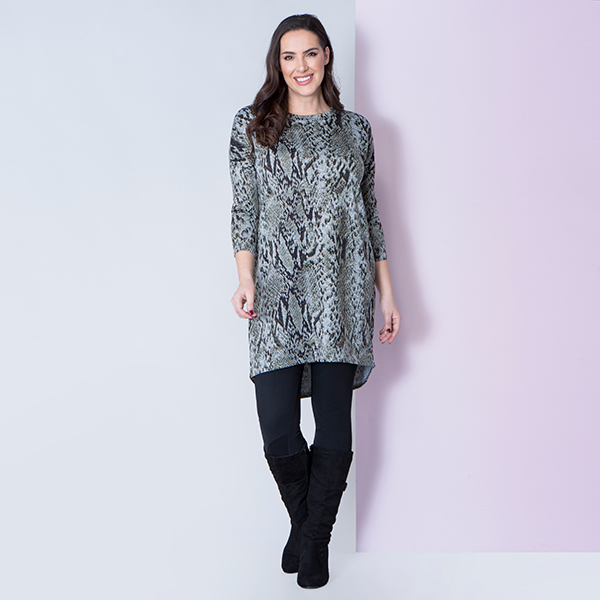 Styled By Longline Printed Tunic with Side Splits Khaki