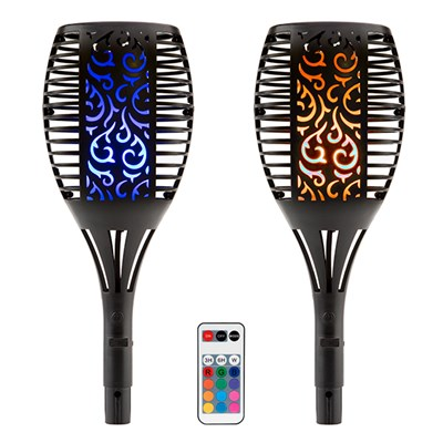 Tulip Shaped USB Solar Light with Flame Effect & Remote Control Multi Colour Light (Twin Pack)
