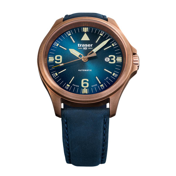 Traser Gent's Swiss Made P67 Officer Pro, Automatic, ETA 2824, Bronze Case Watch with Genuine Leather Strap Blue