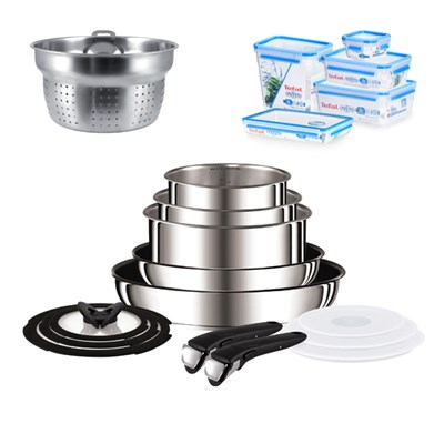 Tefal Ingenio 13 Piece Stainless Steel Pan Set with Pasta Insert & Tefal Masterseal Fresh Storage Solution