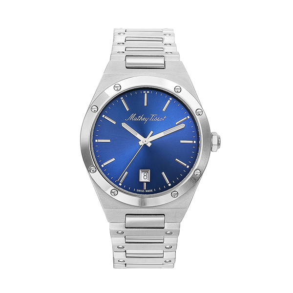Mathey-Tissot Gent's Elisir Watch with Stainless Steel Bracelet Blue