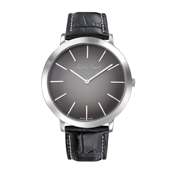 Mathey-Tissot Gent's Super Slim Darius with Genuine Leather Strap Grey