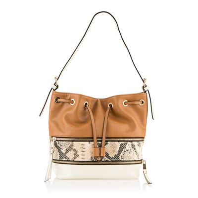 Lucy K Faux Snakeskin Bucket Bag