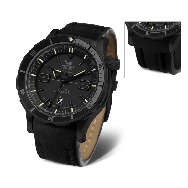 Vostok Europe Gent's Automatic PVD Plated Anchar Stealth Watch with Silicone Strap Black