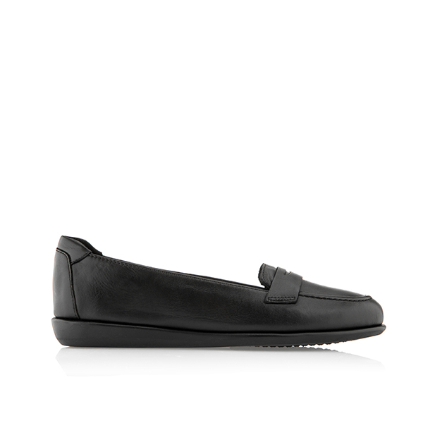 Scholl Phillis Soft Leather Moccasin Shoe Black