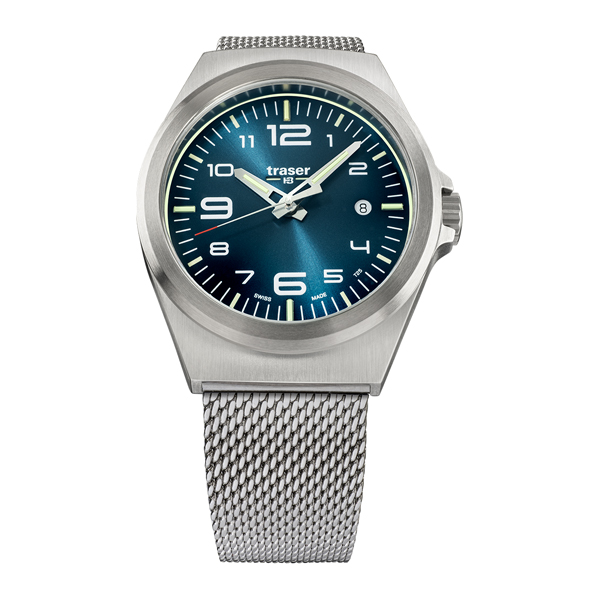 Traser Gent's Swiss P59 Essential Watch with Milanese Bracelet Blue