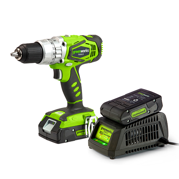 Greenworks 24V Cordless Combi Drill with 2 x 2Ah Lithium-ion Batteries & Charger No Colour