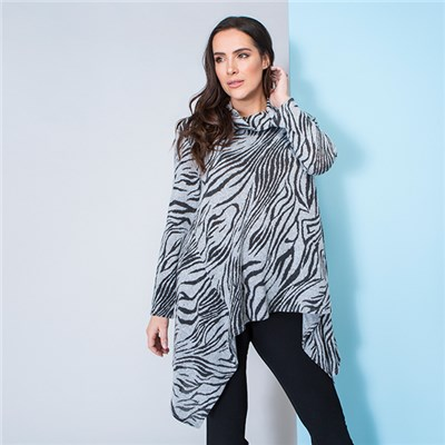 Nicole Brushed Print Cowl Neck Dip Hem Tunic