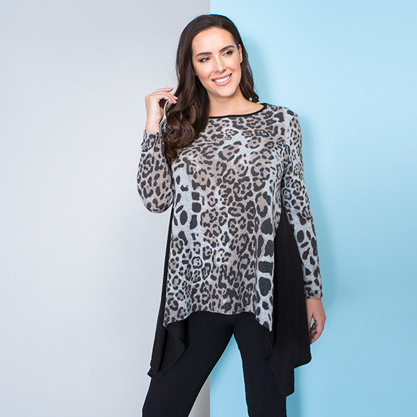 Nicole Brushed Print Front Exaggerated Hem Tunic Brown Leopard
