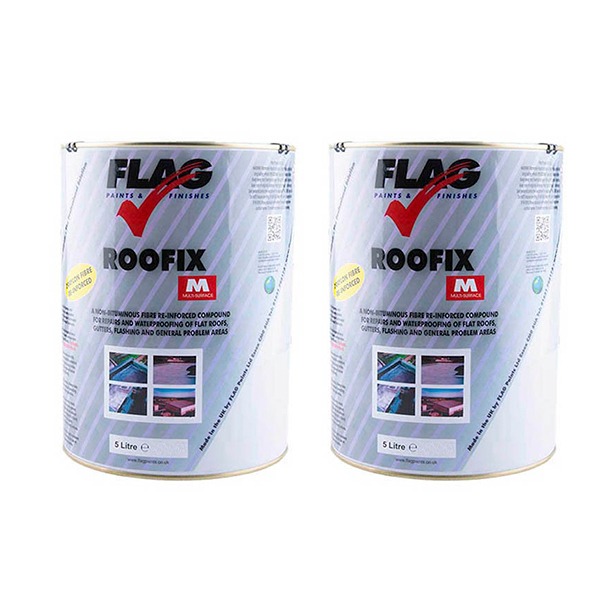 2 x Roofix Multi-Surface Roof Repair 5L Tins Grey