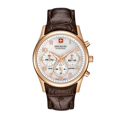 Swiss Military by Hanowa Ladies Navalus IP Rose Gold & MOP Dial Watch with Genuine Leather Strap