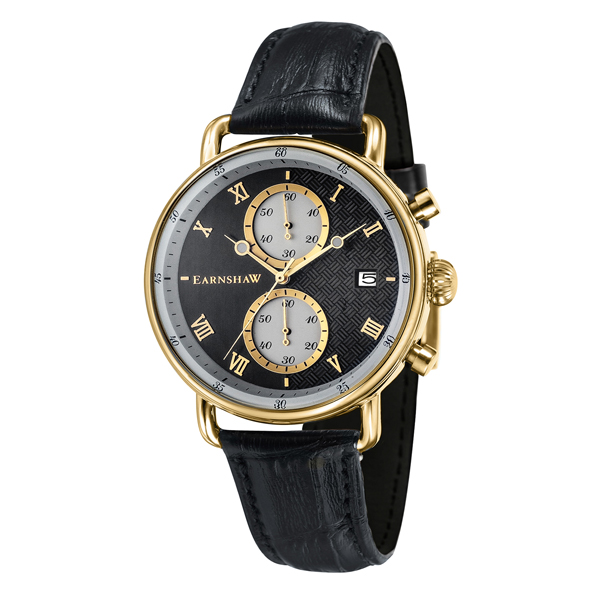 Thomas Earnshaw Gent's Investigator Chronograph Watch with Genuine Leather Strap Black