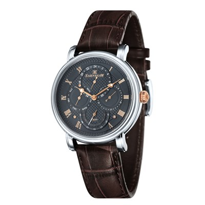 Thomas Earnshaw Gent's Longcase Master Calendar Watch with Genuine Leather Strap