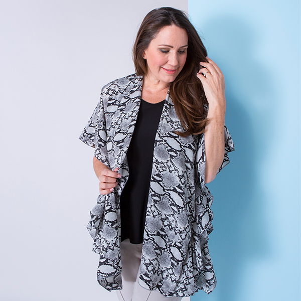 Snakeskin Print Frill Trim Georgette Jacket Grey