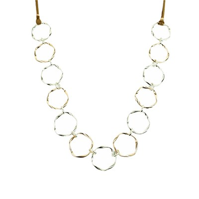 Circle Link Necklace with Faux Suede Cord