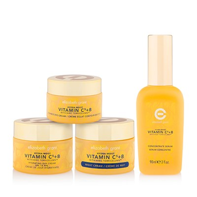 Elizabeth Grant Vitamin C5+B 4pc Skincare Collection Day Cream 50ml, Night Cream 50ml, Eye Cream 30ml, Serum 90ml