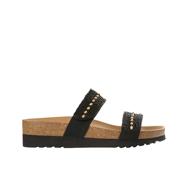 Scholl Tambre Beaded Suede Leather Mule Sandal Black
