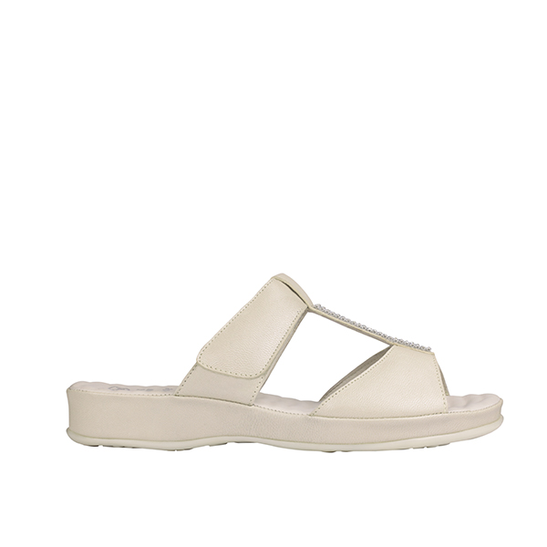 Scholl Zelma Diamante Leather Mule Sandal Ivory