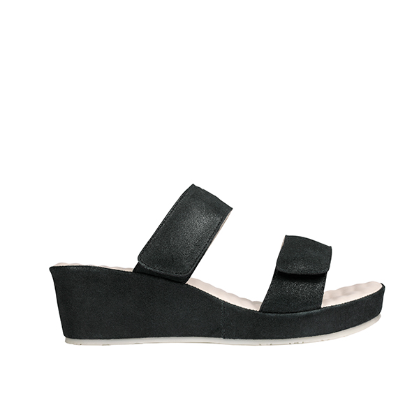 Scholl Cora Suede Leather Mule Wedge Black