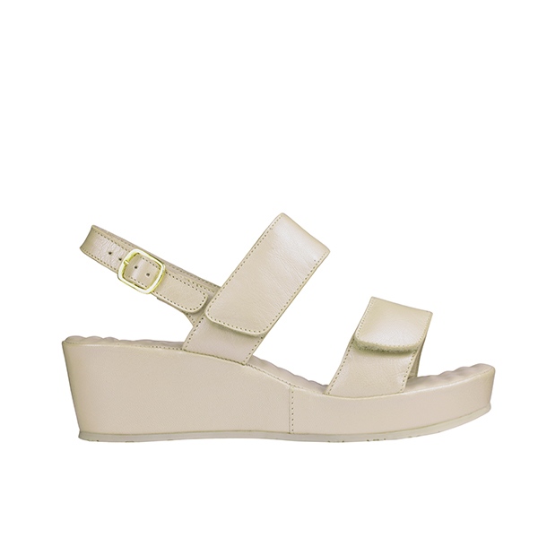 Scholl Cora Suede Leather Wedge Sandal Ivory