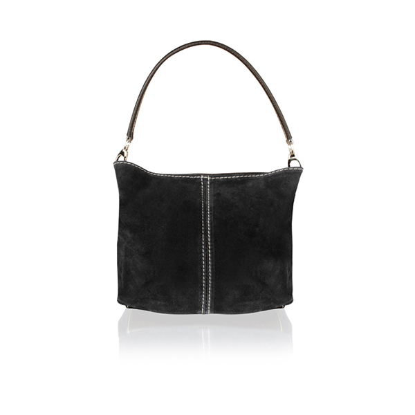 Woodland Leather Suede Hobo Bag Black