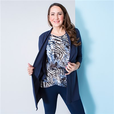 Nicole Crepe Jacket with Print Twist Top