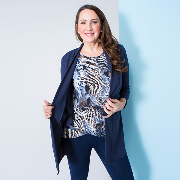 Nicole Crepe Jacket with Print Twist Top Navy
