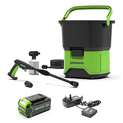 Greenworks GDC40 40V 70bar Cordless Pressure Washer inc. 4Ah Lithium-ion Battery and Charger