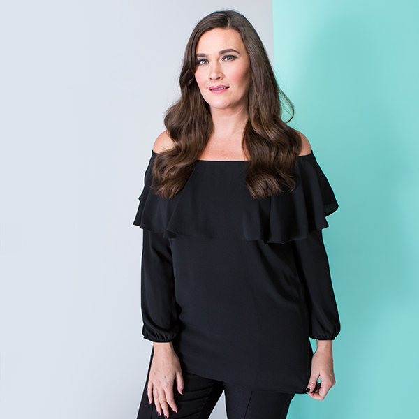Nvee Crepe Frill Top Black