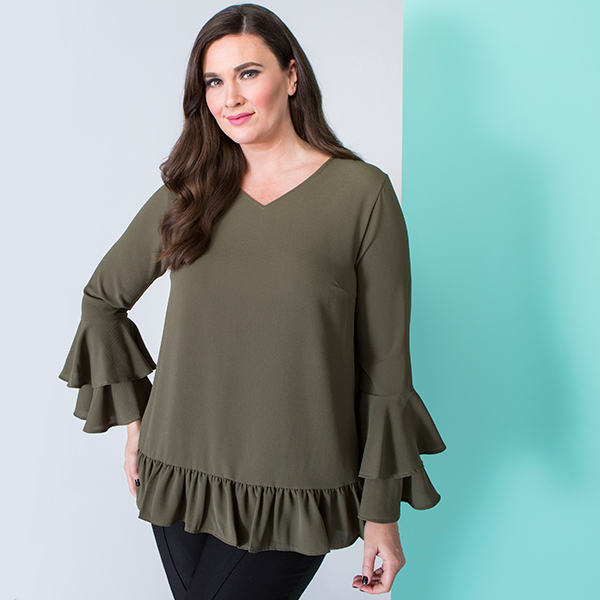 Nvee Crepe Double Frill Sleeve Top Khaki