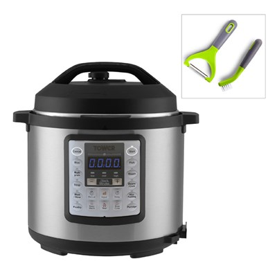 Tower Brushed Stainless Steel 12 in 1 Multi Cooker Express Pot with Programmable Timer with Tower Peeler and Brush Set