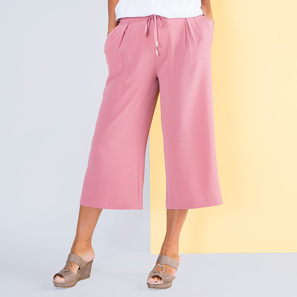 Kasara Crop Tie Waist Trouser Rose