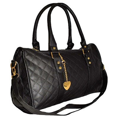 Quilted Bag with Heart Chain Detail