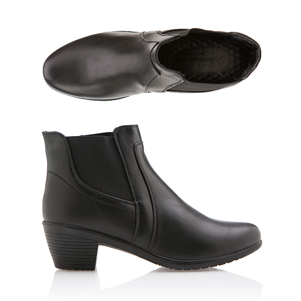 Cushion Walk Comfort Heeled Ankle Boot Black