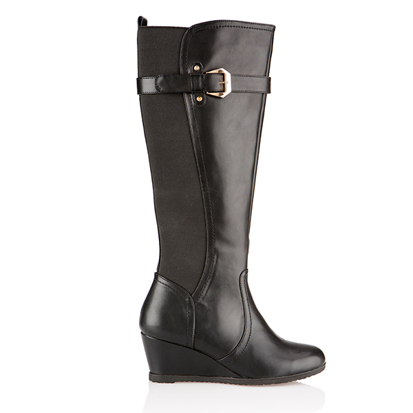 Cushion Walk Wedge Tall Boot Black