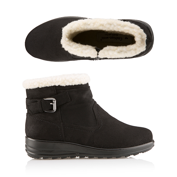 Cushion Walk Faux Suede and Sherpa Ankle Boot Black