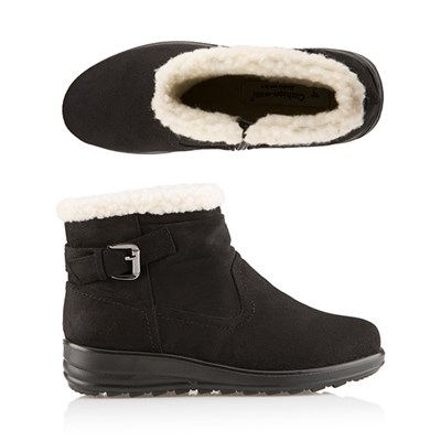 Cushion Walk Faux Suede and Sherpa Ankle Boot