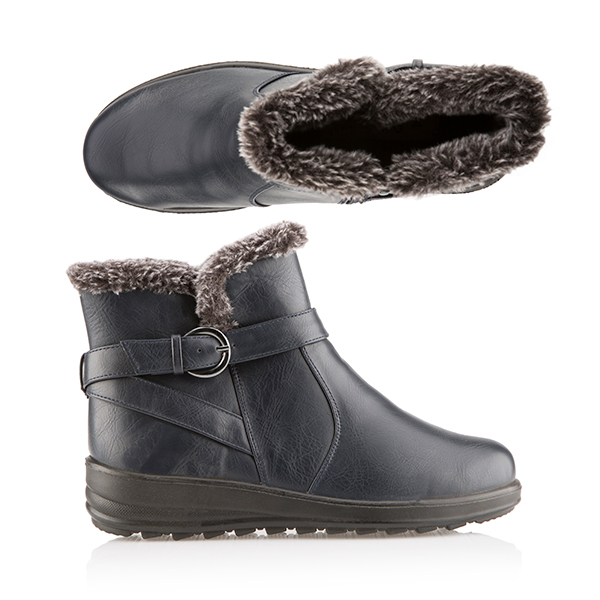 Cushion Walk Faux Fur Trim Buckle Ankle Boot Navy