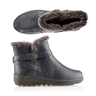 Cushion Walk Faux Fur Trim Buckle Ankle Boot