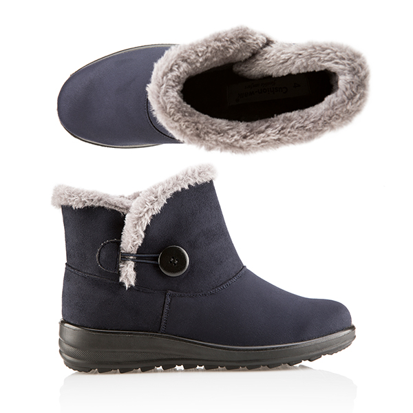 Cushion Walk Comfort Button Detail Ankle Boot Navy