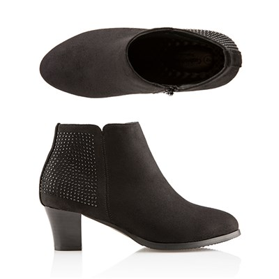 Cushion Walk Diamante Trim Heeled Ankle Boot